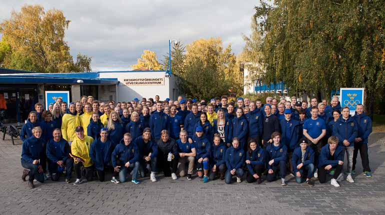 Deltagarna under Youth Olympic Camp på Bosön i oktober 2015. Foto: SOK