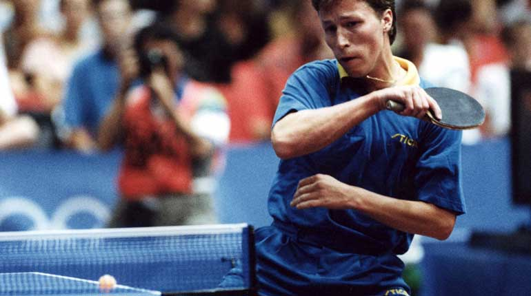 Jan-Ove Waldner under bordtennisens singelturnering i Barcelona 1992. Foto: TT